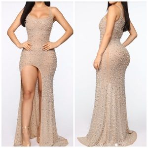 NWT sequined nude maxi dress with high right slit